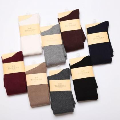 Tablet Pure Color Knee-high Socks