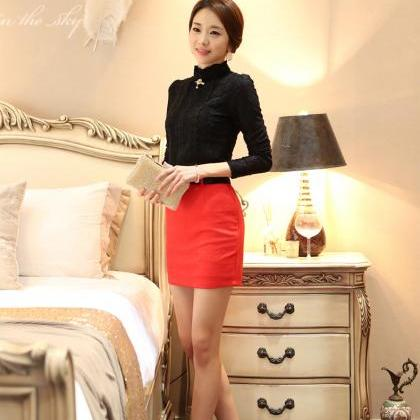 High-necked Lace Pure Color Patchwo..