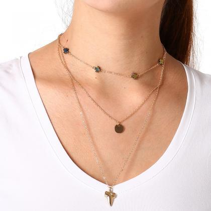 Multi-layer Alloy Cross Long Neckla..