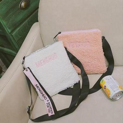 Simple Soft Plush Women Crossbody B..