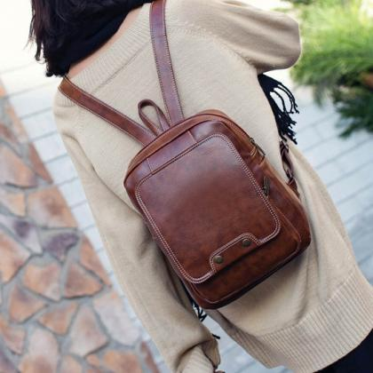 Retro Preppy Chic Zipper Backpack