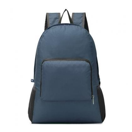 Pure Color Nylon Zipper Backpack