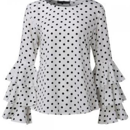 Polka Dot Long Trumpet Sleeves Chif..