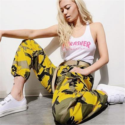 Camouflage High Waist Print Loose Z..