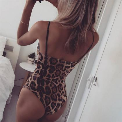 Leopard Spaghetti Straps Hollow Out..