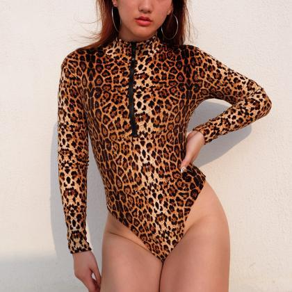 Leopard Slim Long Sleeves Scoop Hig..
