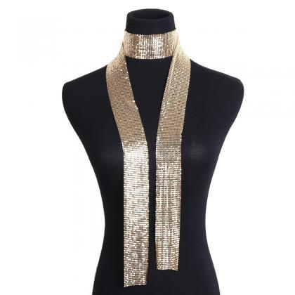 Super Flash Gradient Sequins Neck S..