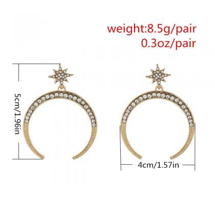 Star Moon Couple Temperament Earrin..
