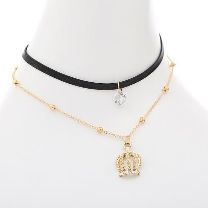 Crown Pendant Leather Strap Alloy C..