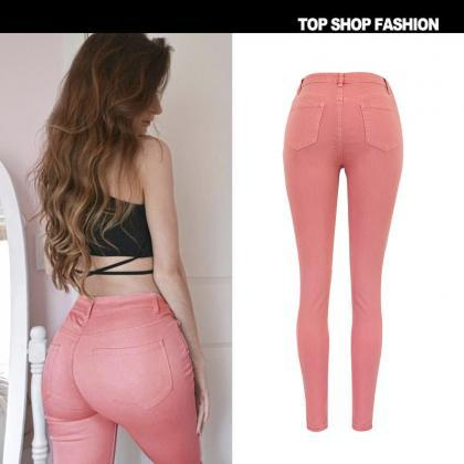 Packets High Waist Pink Slim Zipper..