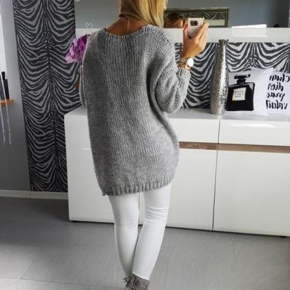 Solid Color Cardigan Loose Women Gr..