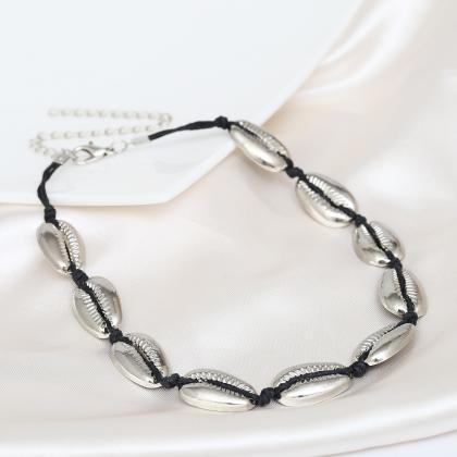 Hand-woven Alloy Shell Necklace