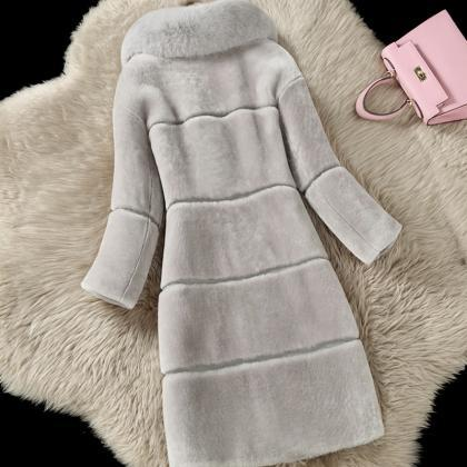Faux Fur Collar Solid Color Warm Pa..