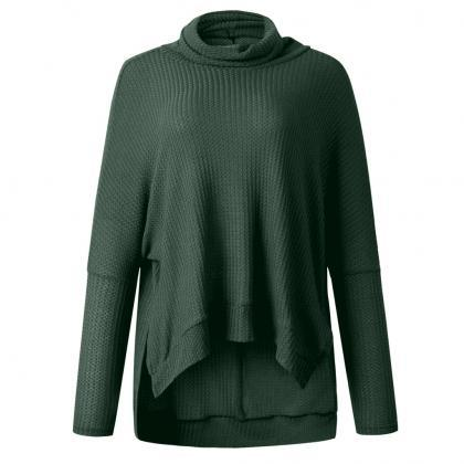 Green Pile Collar Low High Sweater