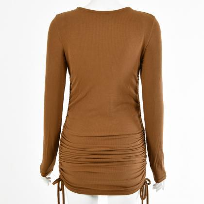 Brown Long Sleeve Soild Drawing Sho..