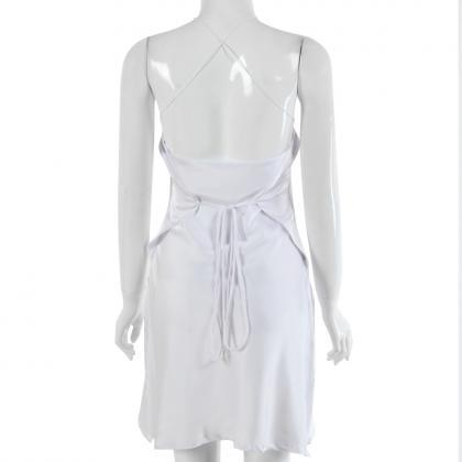 White Backless Satin Tie Waist Shor..