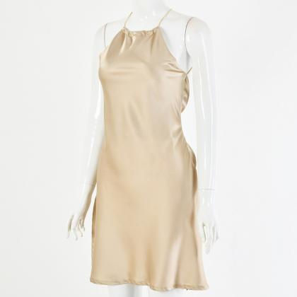 Champagne Backless Satin Tie Waist ..