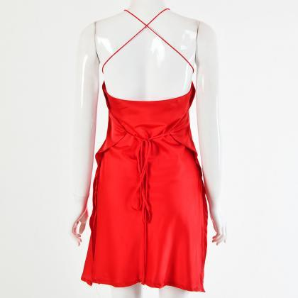 Red Backless Satin Tie Waist Short ..
