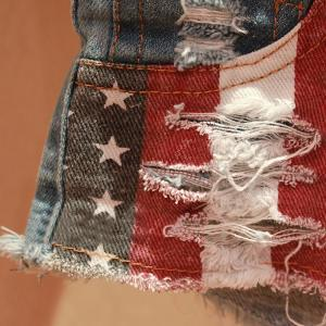 Ladies Denim US Flag Shorts