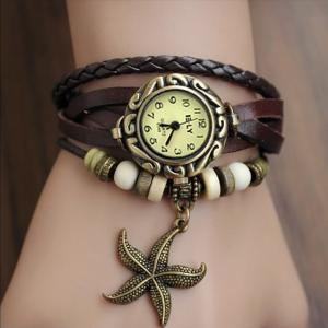 Starfish Leather Bracelet Wrist Wat..