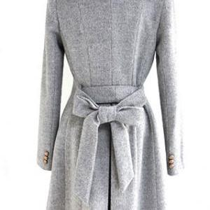 Slim Bowknot Sash Worsted Trench Co..