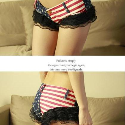 Low Waisted US Flag Lace Shorts