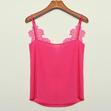 Lace Splicing Chiffon Strap Blouse