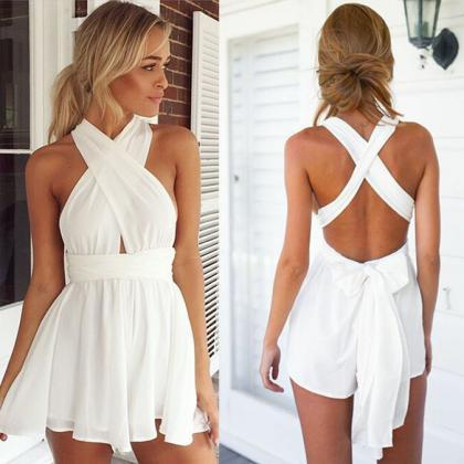 Back Cross V Neck Backless Chiffon ..
