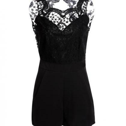 Lace Backless Splicing Bodycon Jump..