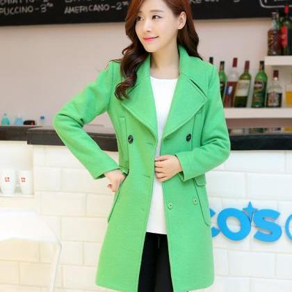 Lapel Double Breast Long Woolen Coa..