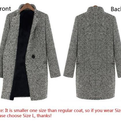 New Ladies Winter Lapel Trench Faux..