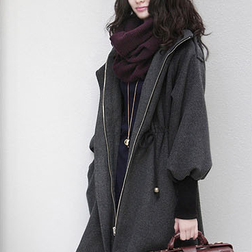 Hooded Belt Slim Thick Wool Long Sl..
