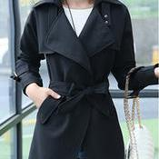 Belt High Neck Long Sleeves Irregul..
