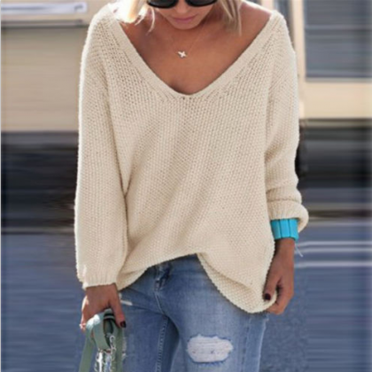 V-neck Loose Knit Pure Color Pullov..