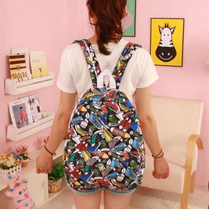Cartoon Print Canvas Fashion Backpa..