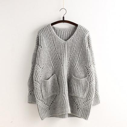Pocket Loose Knit Cable Hollow Soli..