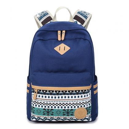Flower Print Casual Backpack Canvas..