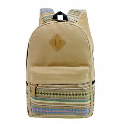 New Unisex Canvas Patchwork Backpac..