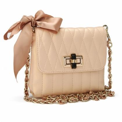 Ladies Chain Shoulder Bag Bowknot C..