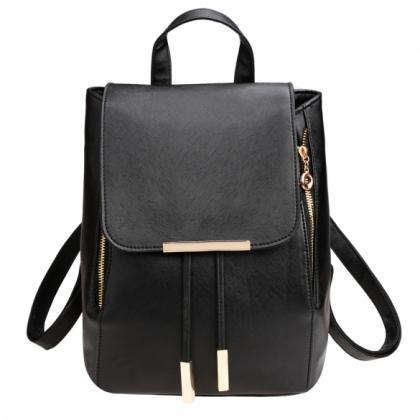 Black Faux Leather Backpack Featuri..