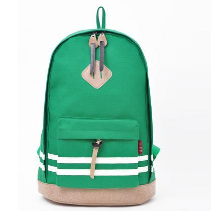 Contrast Color Stripe Canvas Backpa..
