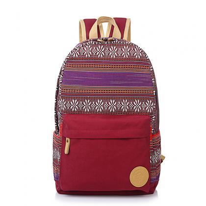 Ethnic Print Canvas Travel School B..