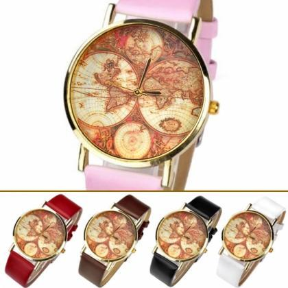 World Map Globe Leather Alloy Unise..