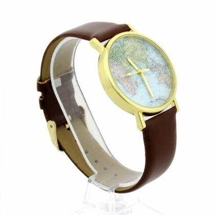 Leather Watches With World Map Watc..