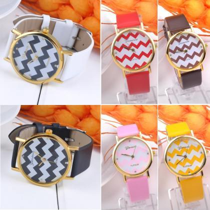 Popular Geneva Stripes Watch PU Lea..