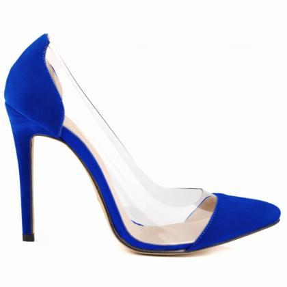 Pointed Toe Suede Transparent High ..