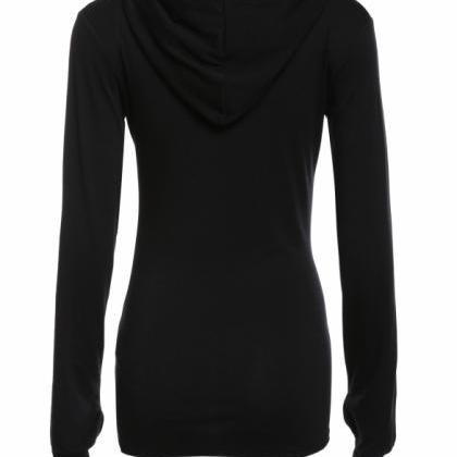 Casual Women Hooded Long Sleeve Pul..