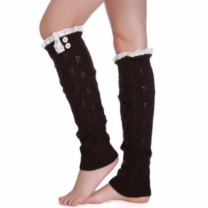 Women Lady Girls Knitted Thigh-High..