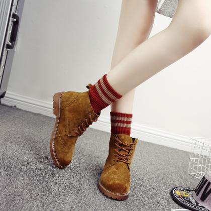 Fashion Leather Brush Color Ankle B..