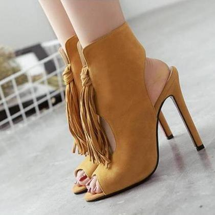 New Suede Tassel Peep Toe High-Heel..